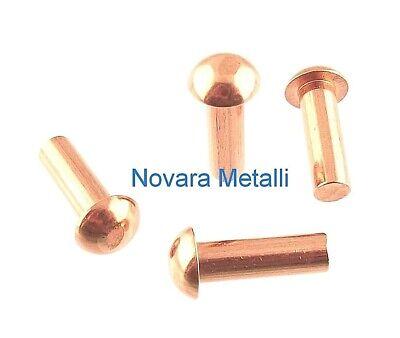 100 Ribattini Testa Tonda Rame 4x8mm DIN660 UNI748 Halbrundnieten round rivets