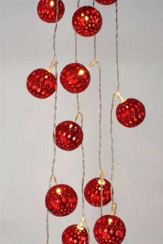 Red GRAND Maroq 16 LED Luce Indoor catena con costruito in Timer-A BATTERIA