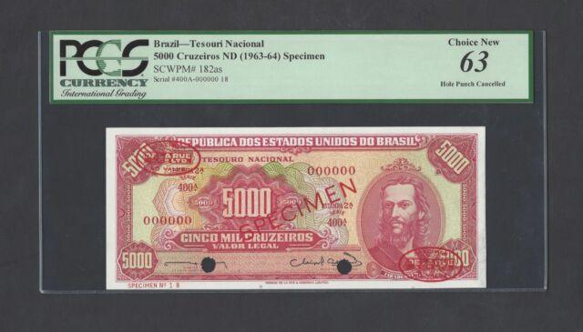 Brazil 5000 Cruzeiros ND (1963-64). P182as  Specimen TDLR Uncirculated