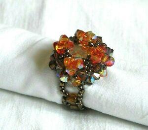 Détails sur Bague perles SWAROVSKI, taille 50-52, grosse, orange marron,  fait main,NEUF