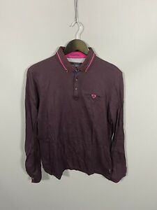 TED-BAKER-Long-Sleeve-Polo-Shirt-Size-4-Large-Great-Condition-Men-s
