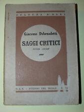 DEBENEDETTI Giacomo, Saggi critici. Nuova serie.. Roma, O.E.T. Edizioni
