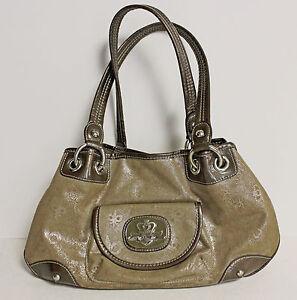 KATHY-VAN-ZEELAND-Metallic-Gold-Taupe-Satchel-Shoulder-Handbag-Purse