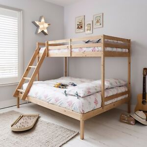 Triple Sleeper Bed Bunk Bed In Natural Double Single Kids Kent