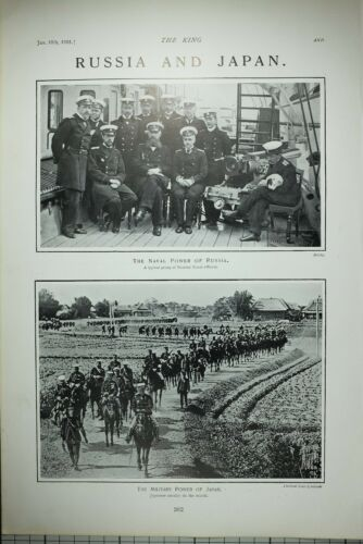1903 PRINT RUSSIAN NAVAL OFFICERS MILITARY POWER OF JAPAN CAVALRY ON MARCH