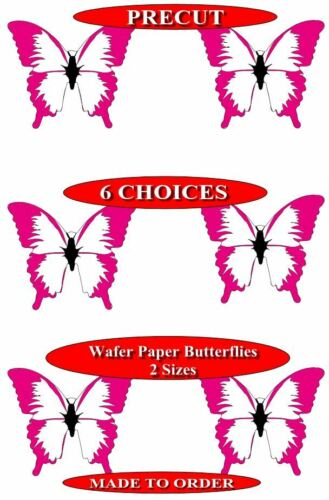 15 Pre-Cut Butterflies Pink and White Tranches Paper Cupcake Toppers
