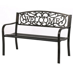 50-034-Patio-Garden-Bench-Park-Yard-Outdoor-Furniture-Steel-Frame-Porch-Chair-W23