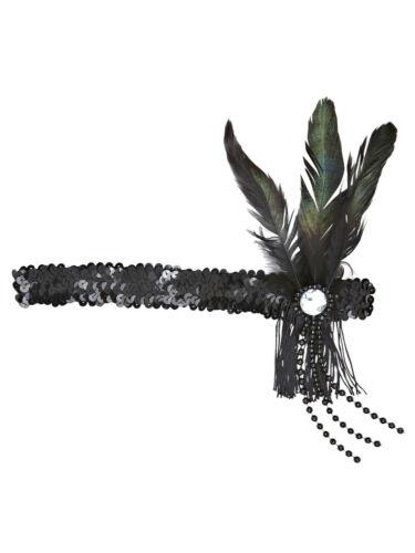 20s Pailletten-Stirnband mit Federn Accessoires Kostüm Charleston