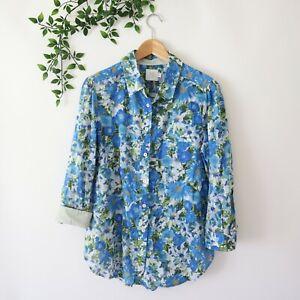HD-in-Paris-Anthropologie-Floral-Print-Button-Front-Long-Sleeve-Shirt-Top-Sz-12