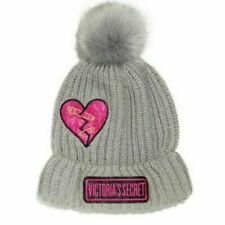 Victoria/'s Secret Winter Lips Hat Beanie Black Logo New Love Victoria Heart