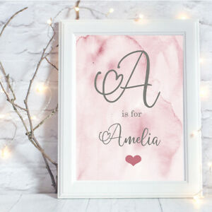 Personalised-A4-Print-Baby-Family-Name-Gift-Wall-Art-NO-FRAME