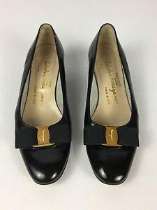 c5eb61066dd Women s Vintage Salvatore Ferragamo Black Leather BOW Low Heel Pumps ...