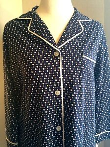 DKNY-Navy-Polka-Dot-3-4-Sleeve-Cotton-Knit-Sleepshirt-Gown-Womens-Sz-M