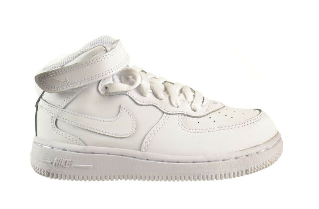 Nike Force 1 Mid (TD) Baby Toddlers Shoes White White White 314197 113