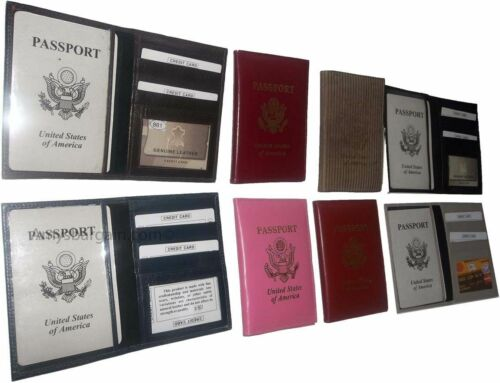 7 New USA Leather passport case 1 each. wallet credit ATM card case ID holder BN