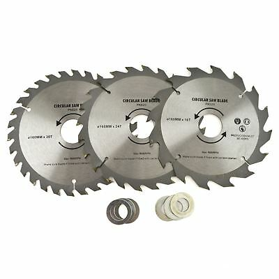 3pc 150mm TCT Circular Saw Blades 16//24//30 TPI /& Adapter Rings Reducer TE866