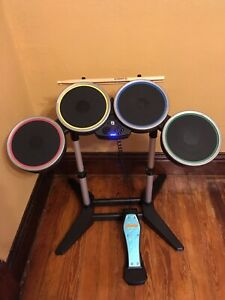 Nintendo-Wii-RockBand-Wireless-Harmonix-Drum-Set-w-Pedal-amp-Sticks-Great-Cond