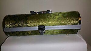 Round-Wine-Bottle-Box-Case-Holder-Silver-Metal-Green-Jaquard-Fabric-Black-Velvet