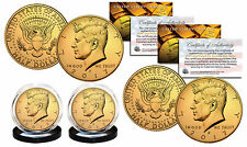 24K GOLD PLATED 2017 JFK Kennedy Half Dollar 2-Coin Set BOTH P&D MINT w/Capsules