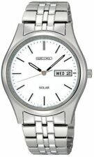 Mens Seiko Solar Classic Silver Stainless Steel White Dial Watch Day Date SNE031