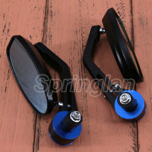 2X-BLUE-7-8-22MM-UNIVERSAL-MOTORCYCLE-BIKE-HANDLE-BAR-END-REARVIEW-SIDE-MIRRORS