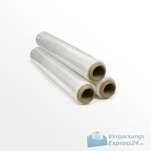3 Rollen PE Stretchfolie Palettenfolie Wickelfolie 500mm x 300m Transparent 13my