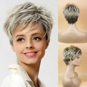 Details About Lady Boy Cut Short Layered Pixie Wigs Straight Full Synthetic Bob Wig For Women