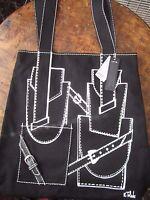 Isabel Toledo Lane Bryant Black Faux Leather Trim Black Canvas Bag Tote Purse