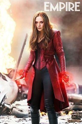 Wanda Maximoff-long-Cuir-Costume Scarlet-Sorcière-Elizabeth Olsen/'s Veste-manteau