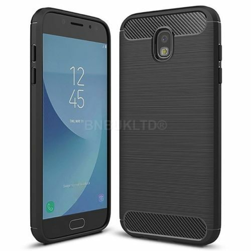 low priced 1dd24 f4ab7 for Samsung Galaxy J8 Case Carbon Fibre Cover & Glass Screen Protector