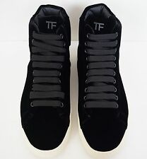 NIB TOM FORD Black VELVET Hot High-Top Fashion Sneakers Shoes 42 US-12