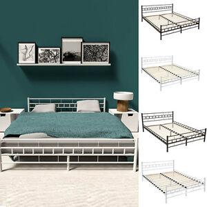 lit en m tal design double 2 places cadre de lit sommier lattes ebay. Black Bedroom Furniture Sets. Home Design Ideas