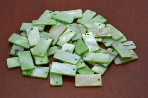 50 PCS DYED GREEN RECTANGLE BLANK SHELL BEADS CHARMS #T-1176