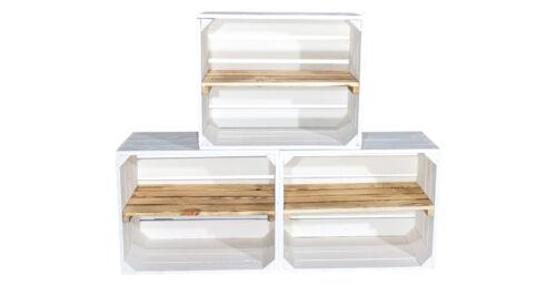 Sparpaket weiße Obstkisten mit geflammten Mittelbrett *50x40x30cm* Schnäppchen
