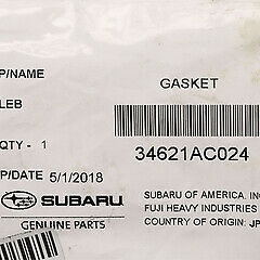 OEM 05-14 Legacy Outback Tribeca Power Steering Pump Hose Tube Gasket 34621AC024