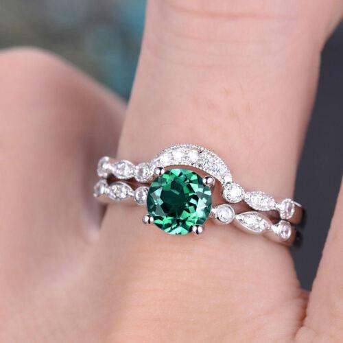 2pcs//set ARGENT 925 FEMME Anneaux De Mariage Set Round Cut Emerald Ring Taille 6-10