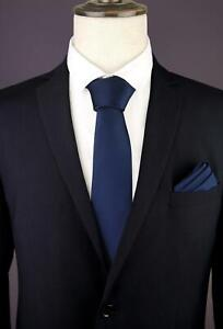 Midnight-Blue-Dark-Mens-Tie-with-Matching-Pocket-Square-Handkerchief-Hanky