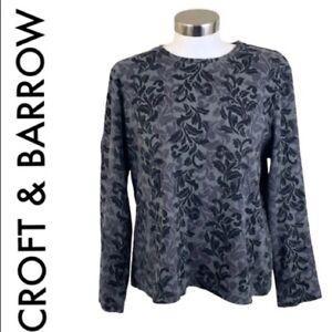 CROFT-amp-BARROW-Women-039-s-Size-XL-Gray-Black-Top-Patterned-Long-Sleeve-Crew-Neck