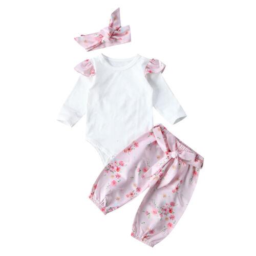 3PCS nouveau-né Enfants Bébé Fille Ange Tops Floral pantalon bandeau Costume Vêtements Set