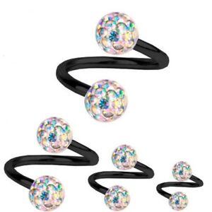 Spiral-Twist-Piercing-Black-Titanium-1-2-mm-Multi-Crystal-Ball-Aurora-Borealis