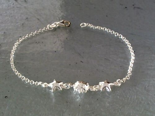 """Solid Sterling Silver Starfish Beach Bracelet 7.25/"""" Long 3.0 Grams Made in Italy"""