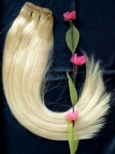 DOUBLE-WEFT-Platinum-Blonde-Human-Hair-Extension-Weft-Full-Head-60