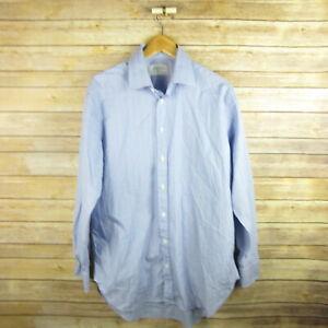 CHARLES-TYRWHITT-Men-039-s-Long-Sleeve-Button-Front-Shirt-16-34-in-Blue-Check