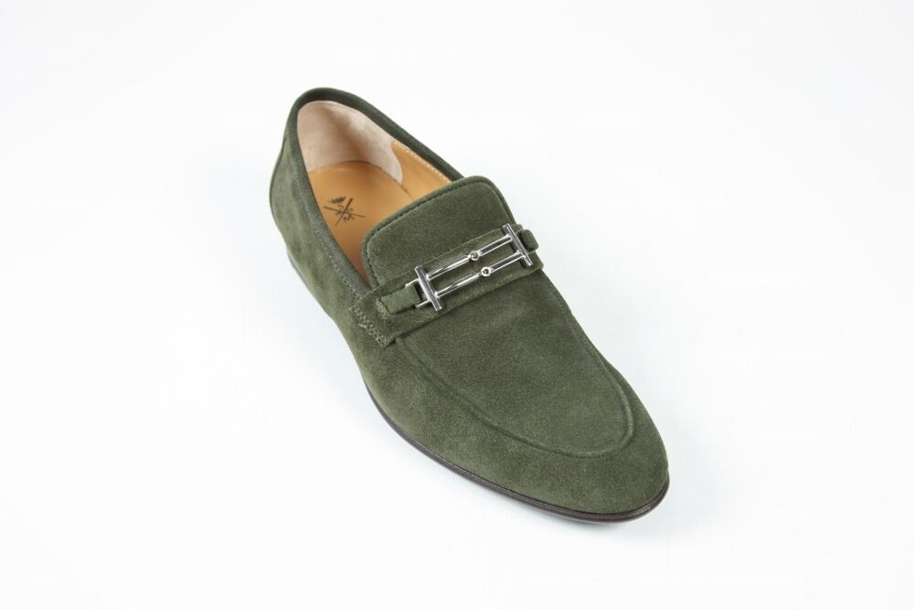 Sutor Mantellassi Shoes Dark sage green buckle loafers