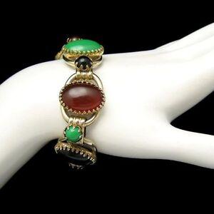 Vintage-Chunky-Bracelet-5-Open-Links-D-amp-E-Juliana-Red-Green-Black-Acrylic-Stones