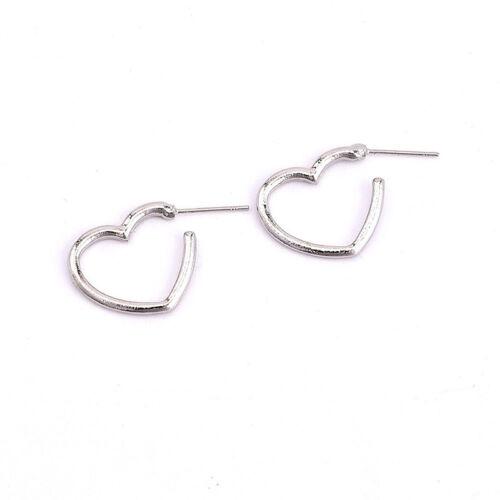 Women Girls Simple Love Heart Shape Hoop Earrings Studs Jewelry Trinket N7