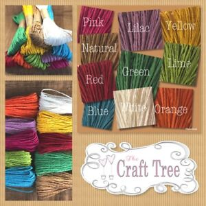 Paper Raffia Cord / Twine / Rope / String Colourful 25 Metre Lengths 13 Colours