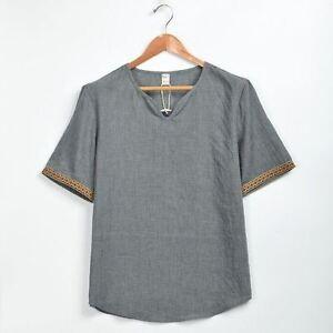 Men/'s Linen Long Sleeve Shirt Summer Cool Loose Casual V-Neck Shirts Tops Tee