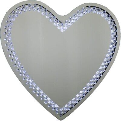 Love Heart Shaped Led Floating Sparky Crystal Large Wall Mirror 70cm Ebay