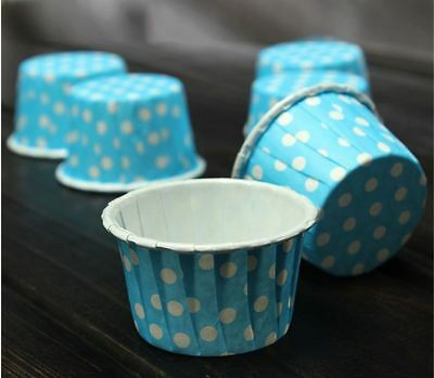 50 x Light Blue Polka Dot Muffin | Cupcake Case - Party, Wedding, Baby Shower